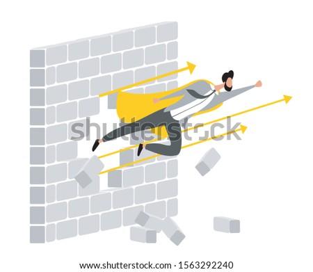 Super businessman breaks the wall. Man breaks the wall. Flying man breaks the wall. Concept flat design