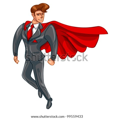 Super Businessman flies safely on a white background
