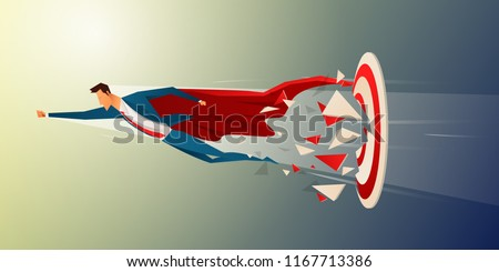 Super businessman flying and breaking target archery to Successful vector. Business superhero rushing on the arrow to the target, business concept goal and success.