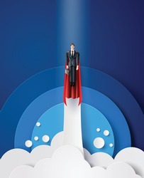 super businessman flying on sky like a superhero.  paper cut  with success business concept