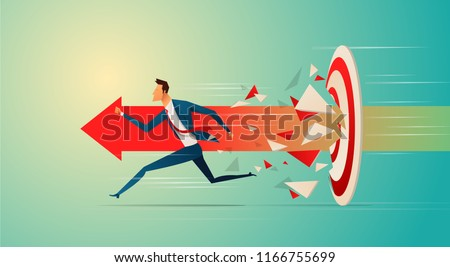 Super businessman running and breaking target archery to Successful vector. Business superhero rushing on the arrow to the target, business concept goal and success.