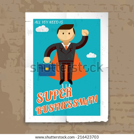 Super Businessman with Cape and Briefcase Graphic Poster