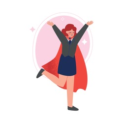 Super Businesswoman in Red Cape Walking with Rising Hands, Successful Superhero Business Character, Leadership, Challenge Goal Achievement Vector Illustration