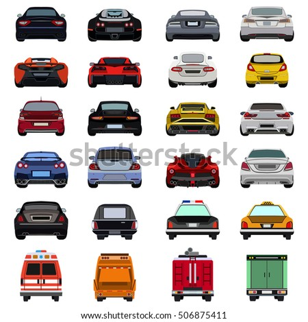 super car flat set icon