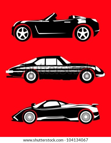 super car in black white style isolated on red color