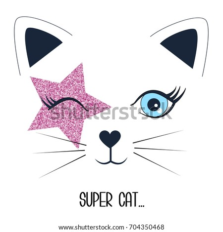 super cat and face cat illustration vector.