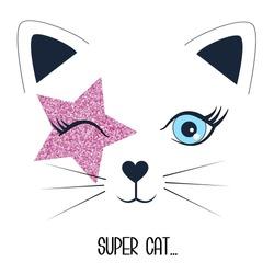 Super cat print design with slogan. Vector illustration design for fashion fabrics, textile graphics, prints.