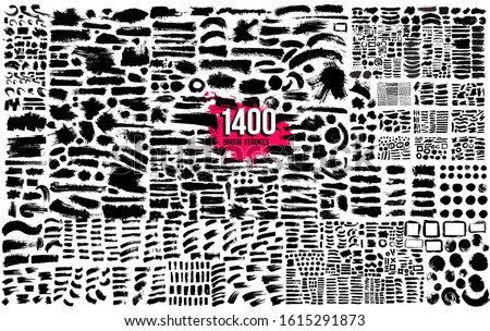 Super collection of 1400 black paint, ink brush strokes bundle, brushes, lines. Dirty artistic design elements. Circle frames. Round grunge design elements. Vector paintbrush illustration.