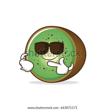 super cool kiwi fruit character