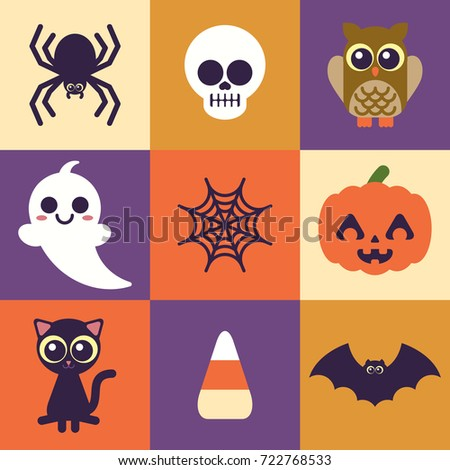 Super Cute Halloween Icons. Easy to edit.