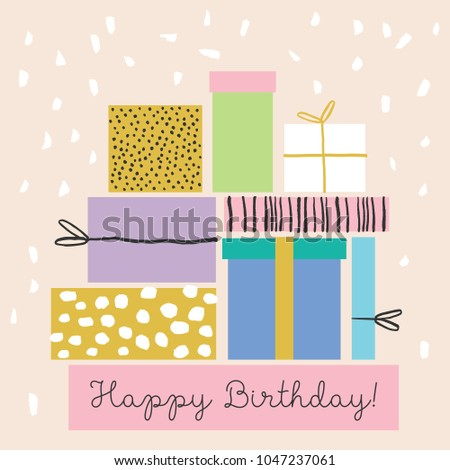 Super cute illustration with Gift Boxes and Confetti. Happy Birthday greeting card design. Holiday background.