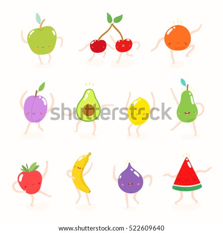 Super cute set of illustrations with Dancing Fruits. Funny fruit drawing in cartoon style. Smiley Apple, Cherry, Orange, Plum,Avocado, Lemon, Pear, Strawberry, Banana, Fig and Watermelon characters.