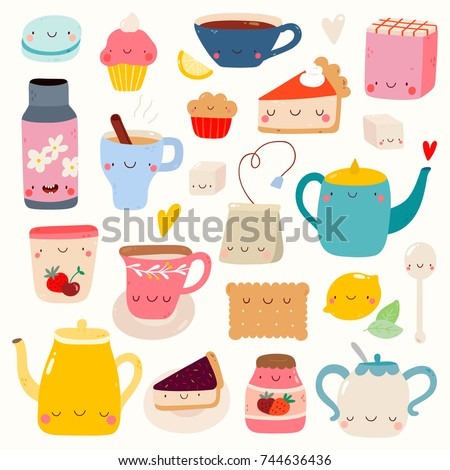 Super cute set of Tea and Sweets icons - kettle, cookie, tea, cake, jam, muffin and other tasty food and drinks. Hand drawn Smiley characters about tea and desserts. Tea Time collection.