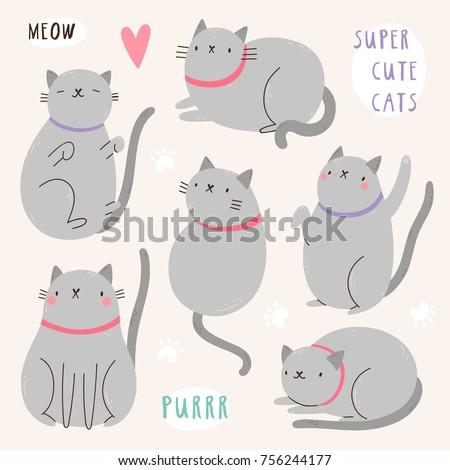 super cute set of vector cat