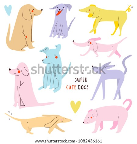 Super cute set of vector Dogs. Cartoon Illustration with different Dogs. Whimsical dogs collection.