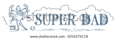 Super Dad Holding Kids Son And Daughter Doodle Horizontal Banner Happy Father Day Concept