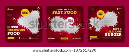 Super delicious fast food social media post template. Healthy and tasty food banner, flyer or poster design for online business marketing and promotion. Restaurant offer menu design with brand logo.
