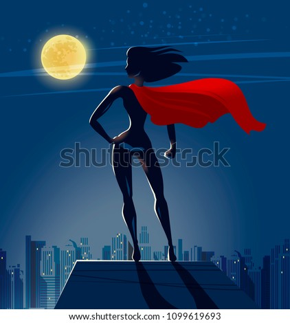 super girl  superhero stands on