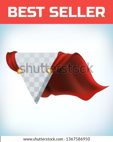 Super hero cape. Red super cloak. Hero clothes. Halloween costume. Strong woman. Super female cape. Girl power. Power icon. Leadership logo. Superhero sign. Success concept. triangle logo
