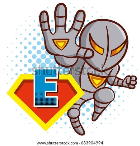 super hero character letter e