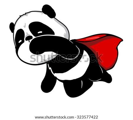 super hero Cute panda vector