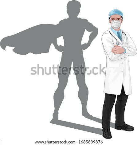 Super hero doctor concept. A medical healthcare professional with superhero shadow. With serious but caring look. Wearing protective face mask.