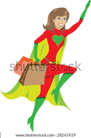 super hero girl flying away from a shopping spree