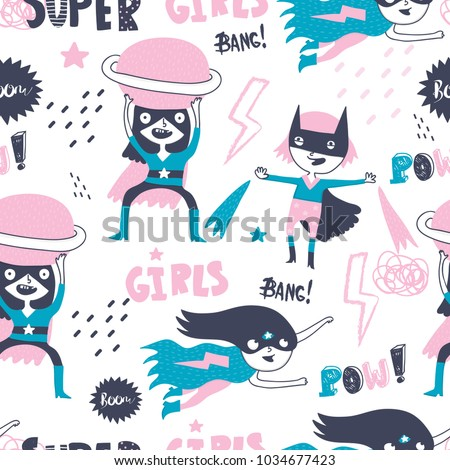 super hero girls hand drawn