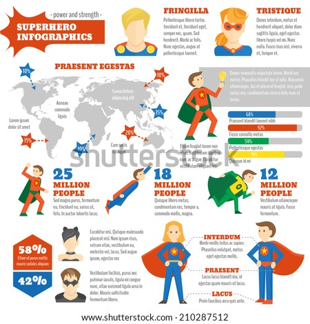 super hero infographics with