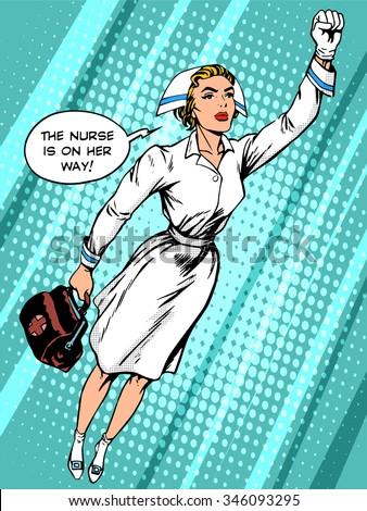 Super hero nurse flies to the rescue pop art retro style