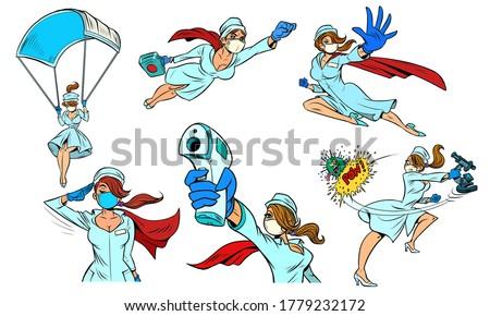 super hero nurse set collection. Comics caricature pop art retro illustration drawing