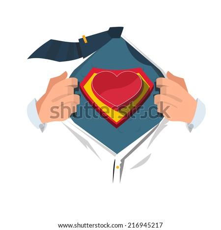 super hero with heart   vector