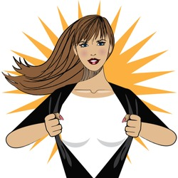 Super hero woman tears open her shirt to reveal the super insignia or message in copy space. EPS 10 vector.