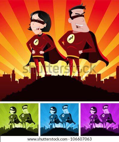 Super Heroes Male And Female/ Illustration of a cartoon super hero man and woman standing proudly with the cityscape over the sunlight beams