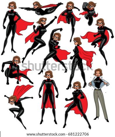 super heroine over white