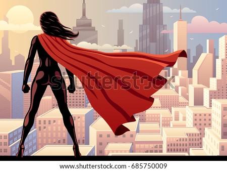 super heroine watching over