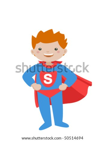 Super kid isolated on a white background.Little boy in superhero dress.