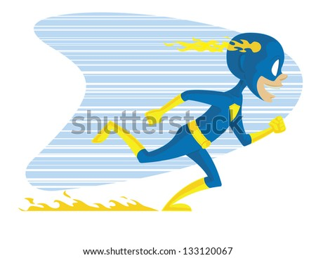 Super Kid Two. This is a vector graphic of a young superhero in costume running
