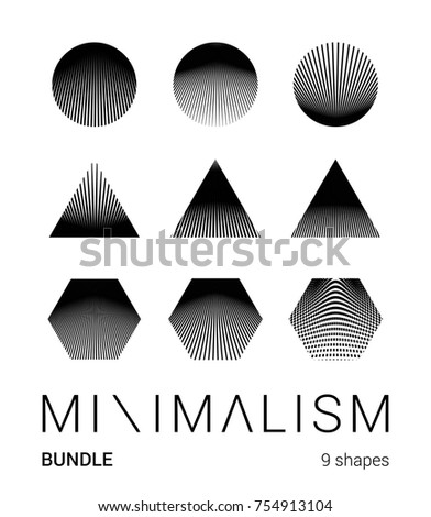 Super minimal art bundle of geometric shapes for your design.  Simple form and structure logotype, poster, book cover.