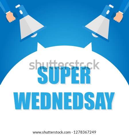 Super monday announcement, hand holding megaphone and specch bubble announcing big sale, vector eps10 illustration