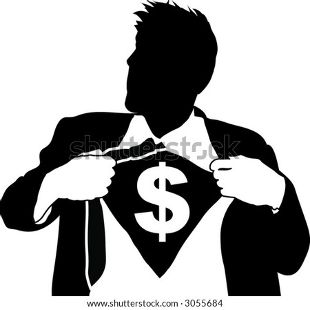 Super money man. A business man tearing open his shirt to reveal a dollar sign