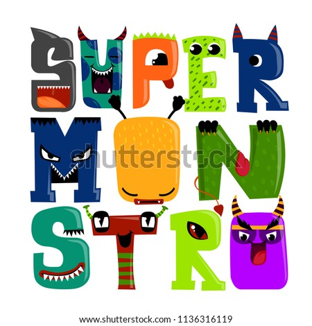 Super monstro. T shirt design with letter like monster, cartoon character, shark, devil, snake. Mutant character with horn, tongue, fin, fangs. letting composition Foto stock ©