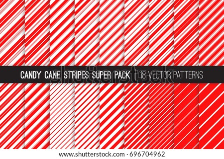 Super Pack of Christmas Candy Cane Stripes Vector Patterns. Classic Winter Holiday Mint Candy Treat. Red White Striped Backgrounds. Variable Thickness Diagonal Lines. Pattern Tile Swatches Included.