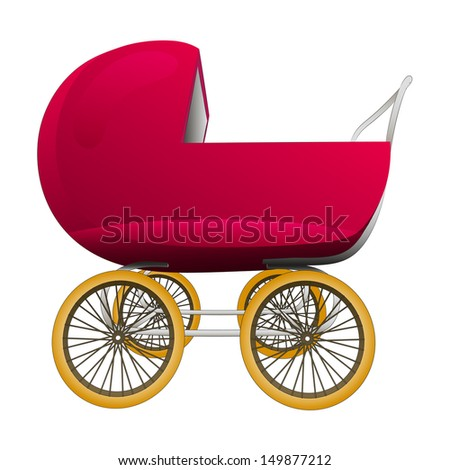 super retro red baby carriage vector illustration