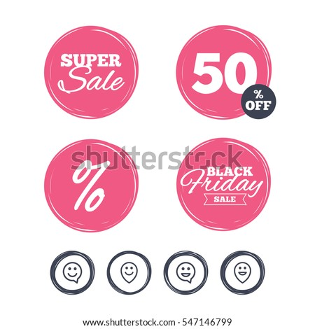 Super sale and black friday stickers. Happy face speech bubble icons. Smile sign. Map pointer symbols. Shopping labels. Vector