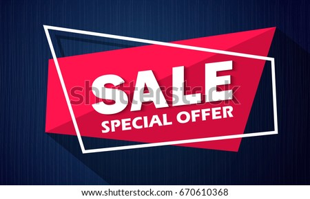 Super Sale and special offer. 50% off. Vector illustration. Coloured banner