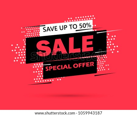 Super Sale and special offer. 50% off. Vector illustration. Trendy neon geometric figures wallpaper in a modern material design style. Coloured banner
