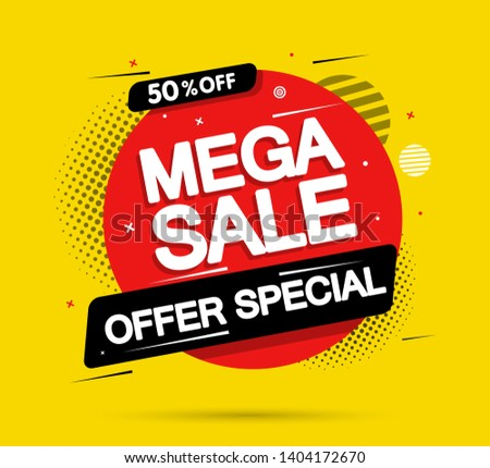 Super Sale and special offer. Vector illustration. Trendy neon geometric figures wallpaper in a modern material design style.Coloured banner Stockfoto ©