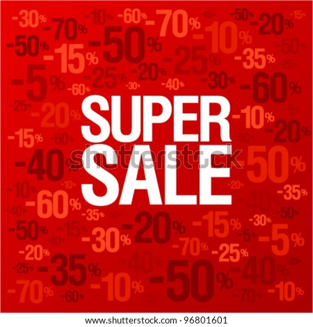 Super sale background with percent discount pattern on a bright red backdrop, fashion banner