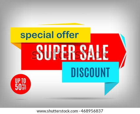 Super sale banner design. Discount poster, special offer. Sale tag. Sale poster. Sale image. Vector illustration eps 10